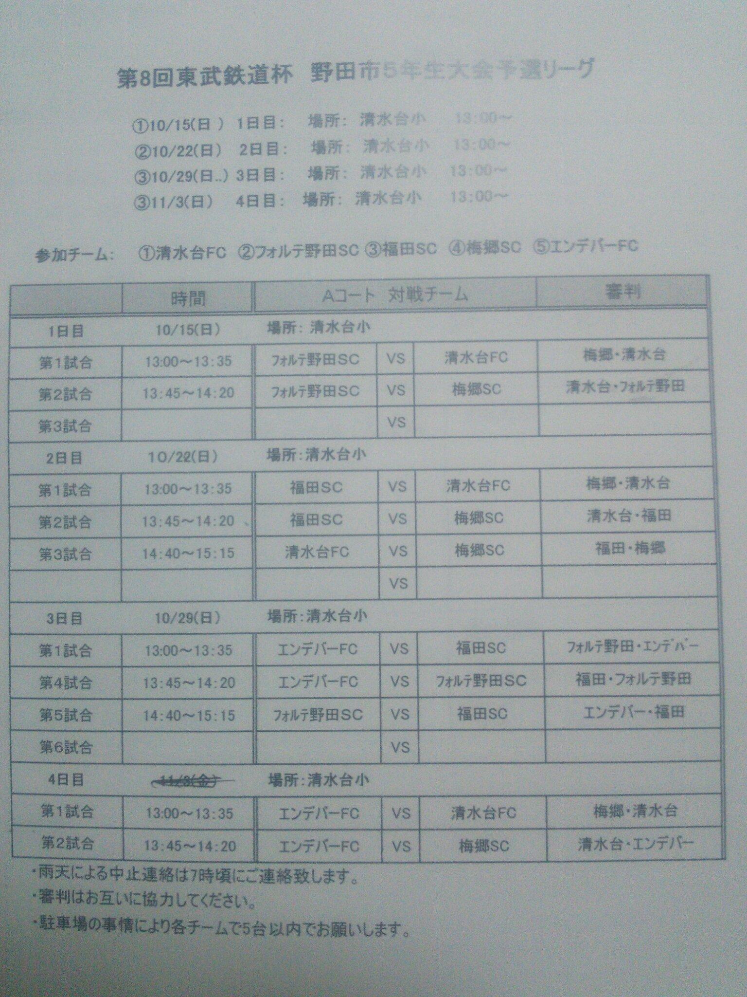 予選リーグ対戦表